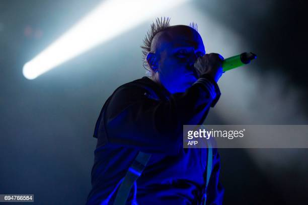 Singer of British band The Prodigy Keith Flint performs during the Northside Festival in Aarhus Denmark on June 10 2017 / AFP PHOTO / Scanpix Denmark...