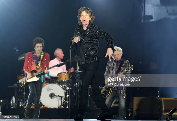 TOPSHOT Singer of British rockband the Rolling Stones Mick Jagger performs at the Esprit arena during the Rolling Stones tour 'Stones No Filter' in...