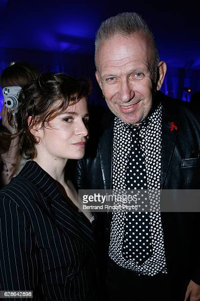 Singer of 'Christine and the Queens' Eloise Letissier dressed in JeanPaul Gaultier and stylist JeanPaul Gaultier attend the Annual Charity Dinner...