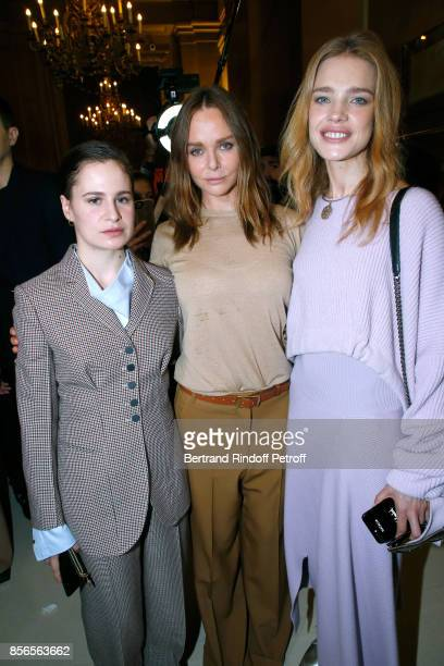 Singer of 'Christine and the Queens' Eloise Letissier Stylist Stella McCartney and Natalia Vodianova pose Backstage after the Stella McCartney show...