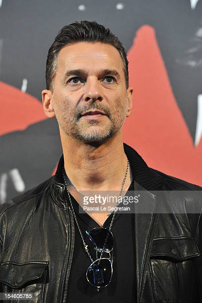 Singer of Depeche Mode band Dave Gahan poses during a photo call during a Press Conference at La Gaite Lyrique on October 23 2012 in Paris France