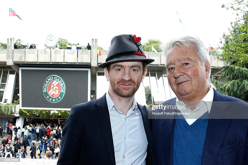 Singer of Dionysos and Autor of the book 'Journal d'un vampire en pyjama', 'Prix Litteraire des Essais France Television 2016', Mathias Malzieu and President of Editions Albin Michel, editor of Mathias' book, Francis Esmenard attend the 'France Television' Lunch during the 2016 French Tennis Open - Day Three at Roland Garros on May 24, 2016 in Paris, France.