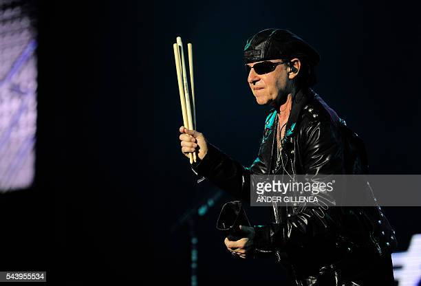 Singer of German band Scorpions Klaus Meine performs at the Miribilla arena in Bilbao on June 30 2016 / AFP / ANDER GILLENEA