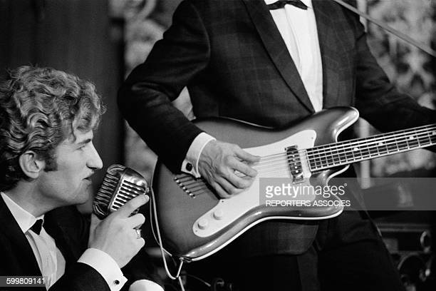 Singer of Group Les Chaussettes Noires Eddy Mitchell at the Club Saint Hilaire, in Paris, France, in November 1961 .