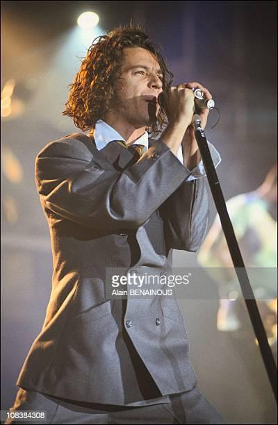 Singer of INXS's Michael Hutchatce in Strasbourg, France on November 13, 1990.