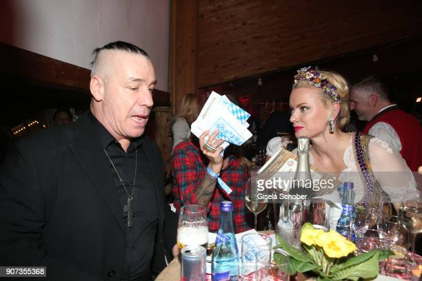 Singer of Rammstein Till Lindemann Sophia Thomalla Franziska Knuppe during the 27th Weisswurstparty at Hotel Stanglwirt on January 19 2018 in Going...