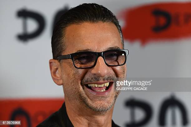 Singer of rock band Depeche Mode Dave Gahan poses during a press conference to promote their new album 'Spirit' on October 11 2016 in Milan / AFP /...