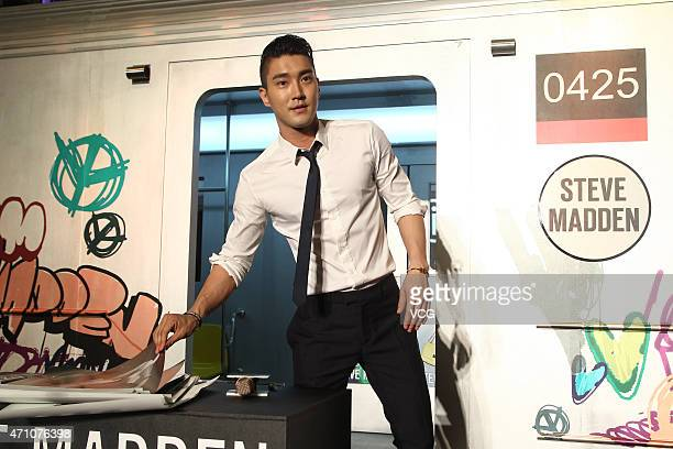 Singer of Super Junior Choi Siwon attends signing activity of Steve Madden at Iapm Mall on April 25 2015 in Shanghai China