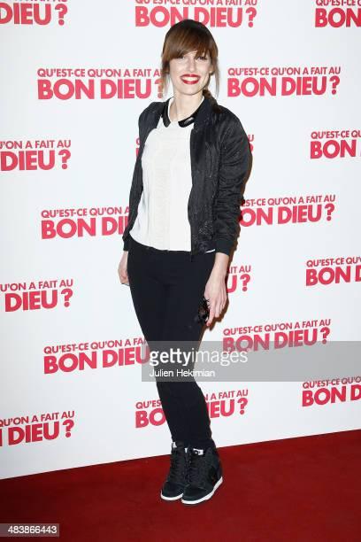 Singer of Superbus Jennifer Ayache attends 'Qu'estce Qu'on A Fait Au Bon Dieu' Paris Premiere at Le Grand Rex on April 10 2014 in Paris France