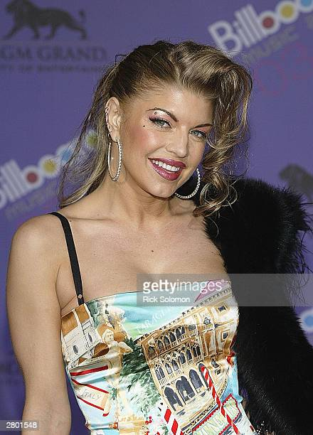 Singer of the Black Eyed Peas Stacy Ferguson poses backstage during the 2003 Billboard Music Awards at the MGM Grand Garden Arena December 10 2003 in...