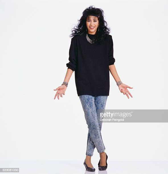 Singer Ofra Haza in Black Sweater