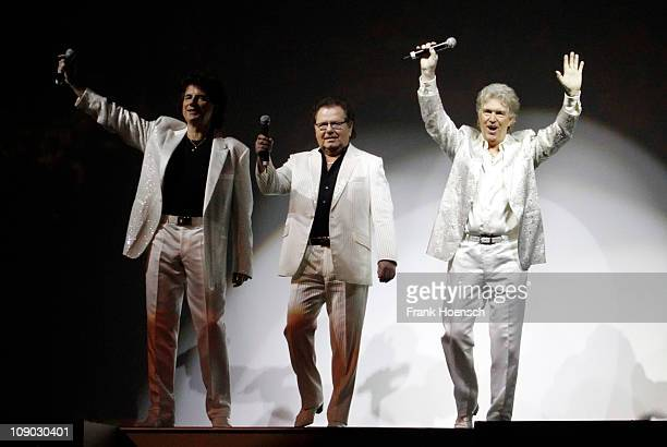 Singer Olaf Malolepski Manfred Durban and Bernd Hengst of the German band Flippers performs live during a concert at the O2 World on February 12 2011...