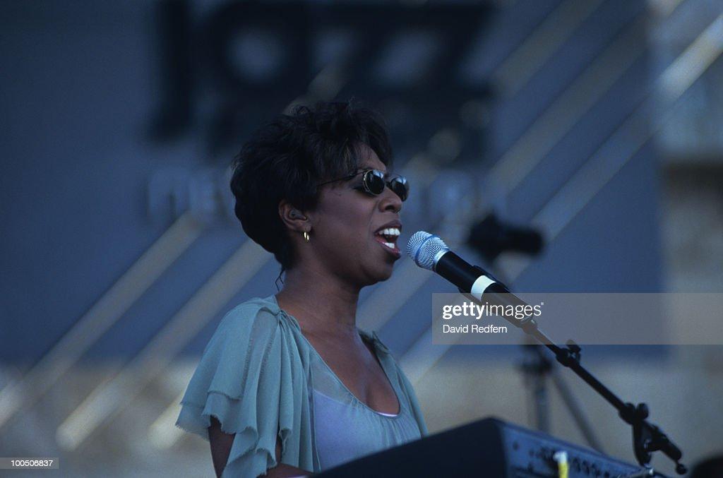 Singer Oleta Adams performs on stage at the Newport Jazz Festival held in Newport, Rhode Island on August 10, 2002.