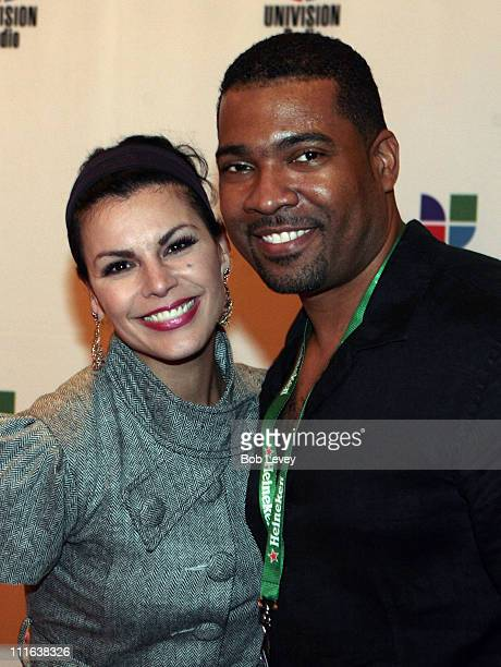Singer Olga Tanon and DJ Carlos Alvarez attend the 9th Annual Latin GRAMMY Awards Univision Radio Remotes held at the Toyota Center on November 12...