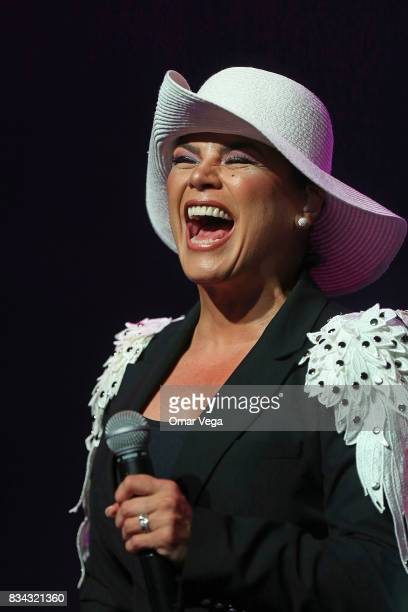 Singer Olga Tañon performs at the stage during a show at The Bomb Factory on August 17 2017 in Dallas US