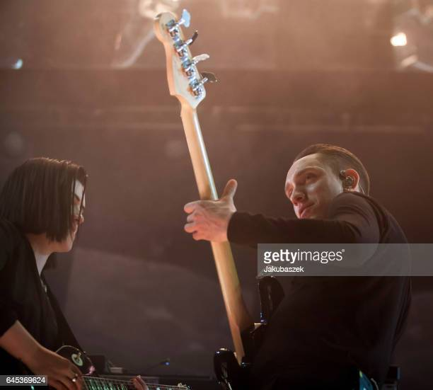 Singer Oliver Sim and Romy Madley Croft of the British band The xx perform live during a concert at the Arena on February 25 2017 in Berlin Germany