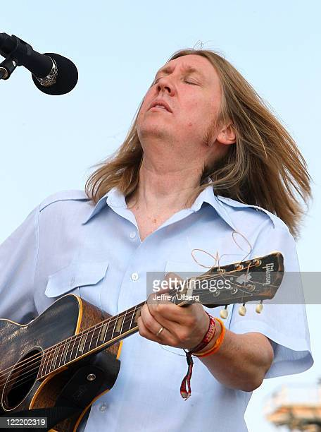 Singer Oliver Wood of The Wood Brothers performs during the Dave Matthews Band Caravan on Governors Island on August 26 2011 in New York City