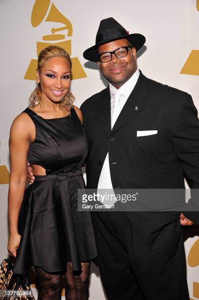 Singer Olivia and Chair Emeritus of The Recording Academy Jimmy Jam attend GRAMMY Nominee Reception at Hudson Terrace on January 25 2012 in New York...