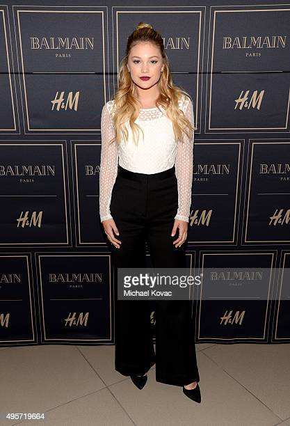 Singer Olivia Holt attends the Balmain x HM Los Angeles VIP PreLaunch on November 4 2015 in West Hollywood California