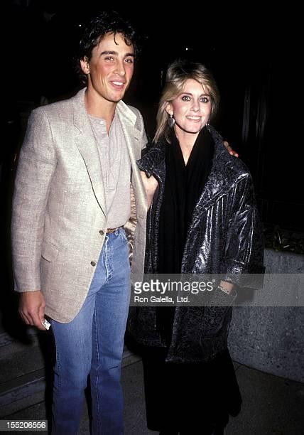 Singer Olivia NewtonJohn and boyfriend Matt Lattanzi on December 1 1983 dine at Chasen's Restaurant in Beverly Hills California