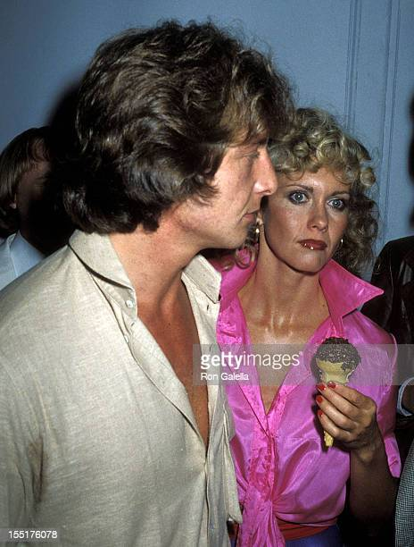 Singer Olivia NewtonJohn and date Lee Kramer attend the 'Grease' Premiere Party on June 13 1978 at Studio 54 in New York City
