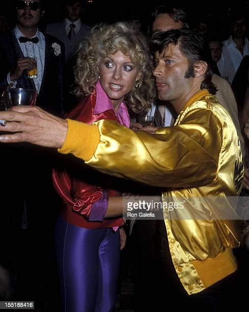 Singer Olivia NewtonJohn and guest attend the 'Grease' Premiere Party on June 13 1978 at Studio 54 in New York City