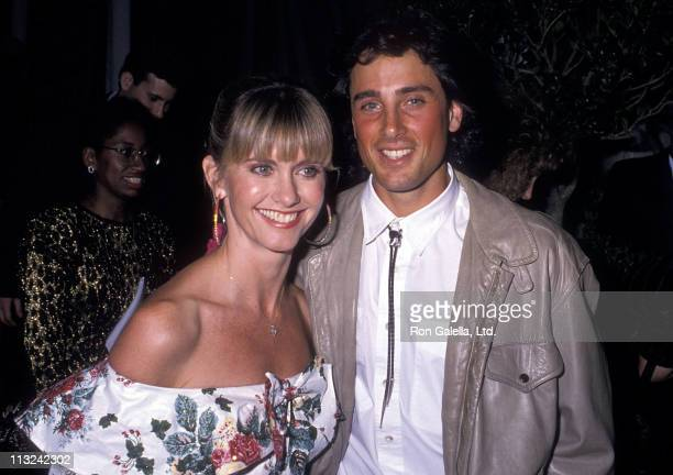 Singer Olivia NewtonJohn and husband Matt Lattanzi attend the 31st Annual Grammy Awards After Party on February 22 1989 at Chasen's Restaurant in...