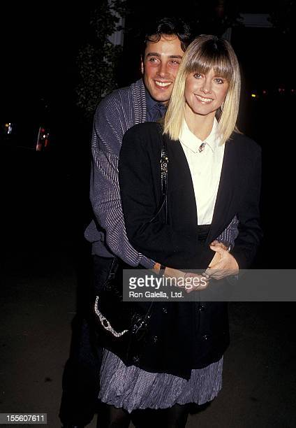 Singer Olivia NewtonJohn and husband Matt Lattanzi attend the Siesta Culver City Premiere on October 29 1987 at the Cary Grant Theatre in Culver City