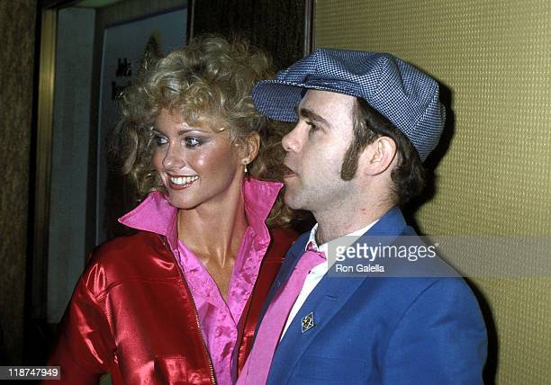 Singer Olivia NewtonJohn and musician Elton John attend the 'Grease' Premiere Party on June 13 1978 at Studio 54 in New York City