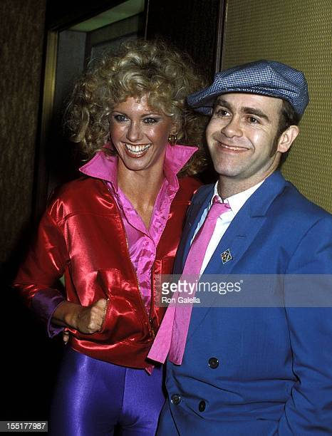 Singer Olivia NewtonJohn and musician Elton John attend the Grease Premiere Party on June 13 1978 at Studio 54 in New York City