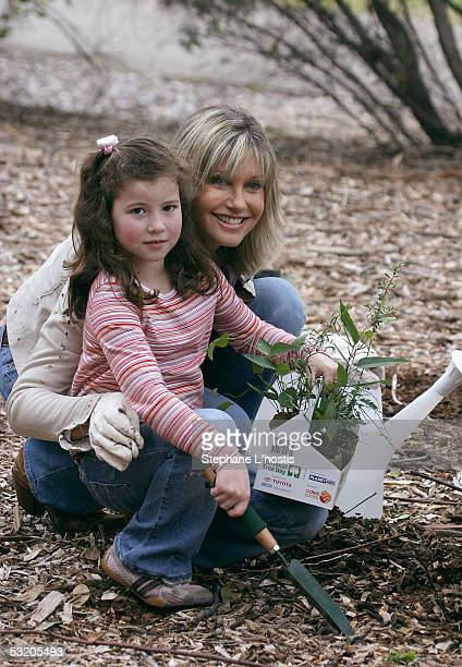 Singer Olivia NewtonJohn attends with Isabelle Brooks the National Tree Day 10th Anniversary Launch at Sydney Park on July 07 2005 in Sydney Australia