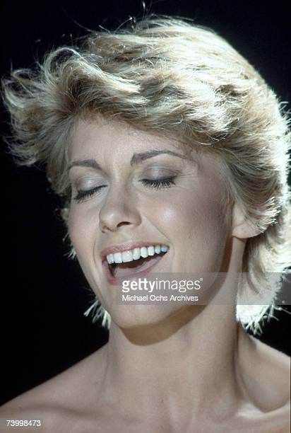 Singer Olivia NewtonJohn performs during the making of the video for her single 'Landslide' in 1981 in Los Angeles California