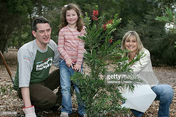 Singer Olivia NewtonJohn with cofounder managing director of Planet Ark Jon Dee and Isabelle Brooks attend the National Tree Day 10th Anniversary...