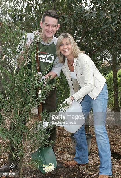 Singer Olivia NewtonJohn with CoFounder Managing Director of Planet Ark Jon Dee attend the National Tree Day 10th Anniversary Launch at Sydney Park...