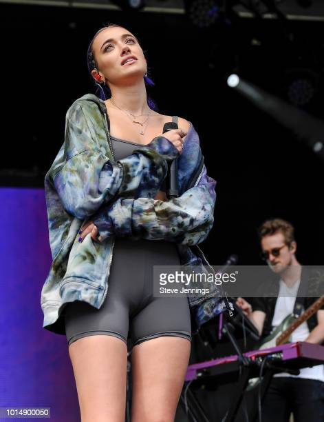 Singer Olivia O'Brien performs at the 2018 Outside Lands Music Arts Festival on Day 1 at Golden Gate Park on August 10 2018 in San Francisco...
