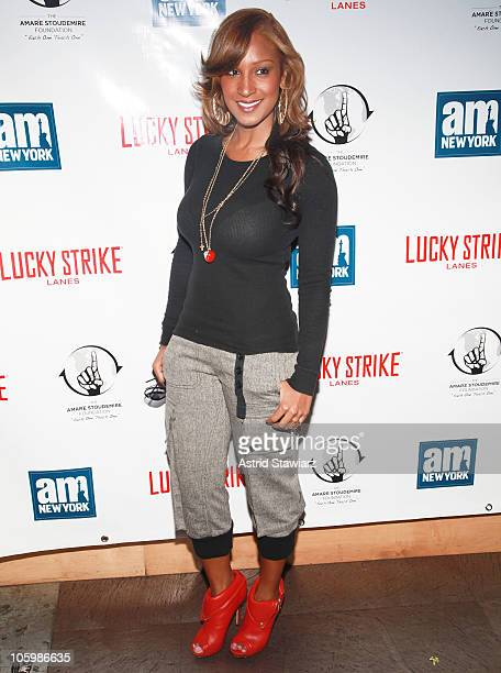 Singer Olivia Theresa Longott attends New York Knick Amar'e Stoudemire's Welcome To New York Party at Lucky Strike Lanes Lounge on October 23 2010 in...