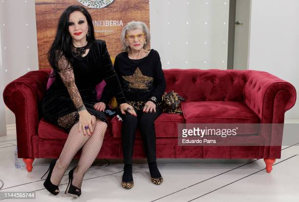 Singer Olvido Gara AKA Alaska and her mother America Jova attend 'Cena Con Mama' RTVE presentation at TVE studios on April 23 2019 in Madrid Spain