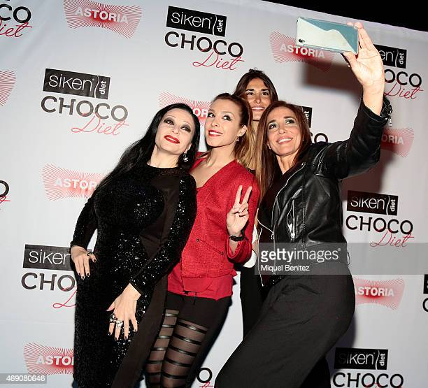 Singer Olvido Gara 'Alaska' Gisela Llado 'Gisela' Lidia Torrent and Elsa Anka attend 'Choco Diet' by Siken at Astoria theater on April 9 2015 in...