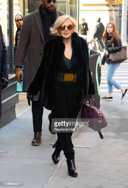 Singer Orfeh is seen outside Build Studio on February 21 2019 in New York City