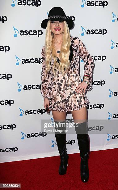 Singer Orianthi attends the ASCAP GRAMMY Nominee Cocktail Soiree at SLS Hotel on February 12 2016 in Los Angeles California