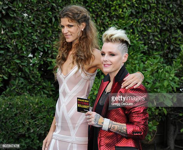 Singer Otep Shamaya and model Aleks Rastovic arrive at Mercy For Animals Hidden Heroes Gala 2016 at Vibiana on September 10, 2016 in Los Angeles,...