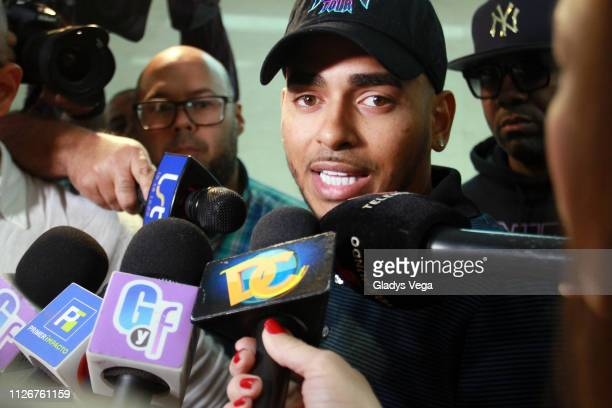 Singer Ozuna gives a statement to the prosecutor as part of an extortion investigation into the now deceased Kevin Fret at San Juan Court on February...