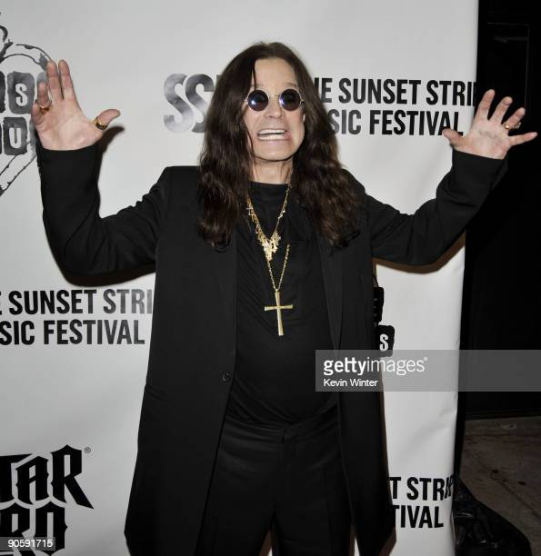 Singer Ozzy Osbourne arrives at the 2nd Annual Sunset Strip Music Festival's Tribute to Ozzy Osbourne at the House of Blues on September 10 2009 in...
