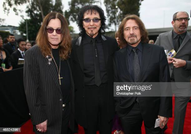 Singer Ozzy Osbourne guitarist Tony Iommi and bassist Geezer Butler attend the 56th GRAMMY Awards at Staples Center on January 26 2014 in Los Angeles...