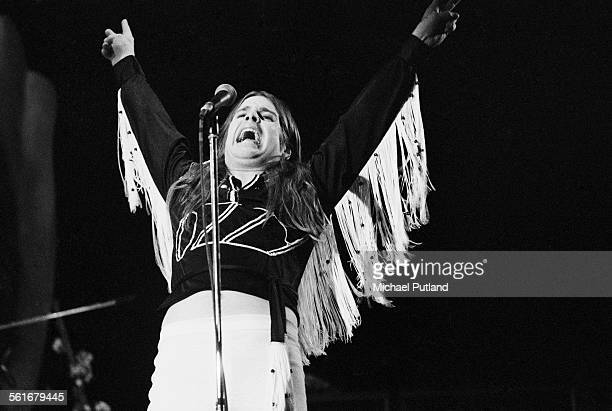 Singer Ozzy Osbourne performing with British heavy metal band Black Sabbath October 1975