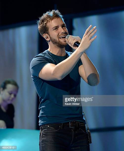 Singer Pablo Alboran performs onstage during rehearsals for the 14th annual Latin GRAMMY Awards at the Mandalay Bay Events Center on November 18 2013...