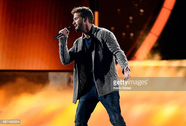 Singer Pablo Alboran performs onstage during rehearsals for the 16th Latin GRAMMY Awards at the MGM Grand Garden Arena on November 16 2015 in Las...