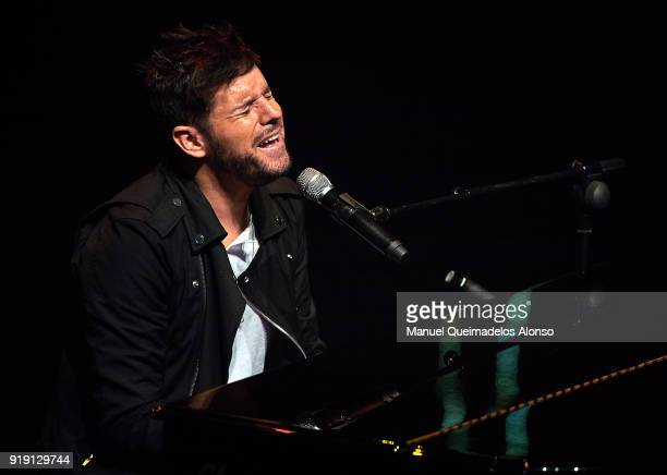 Singer Pablo Lopez performs in concert during his Tour 'Santa Libertad' at the Palau de les Arts on February 16 2018 in Valencia Spain