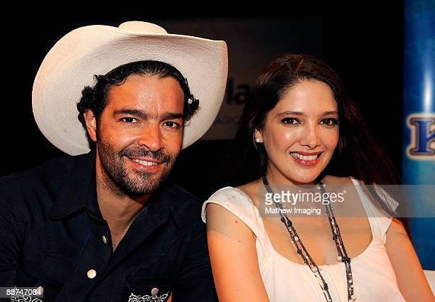 COVERAGE*** Singer Pablo Montero and Actress/Singer Adela Noriega posing in the Golden Bear Theater at Six Flags Magic Mountain on June 28 2009 in...