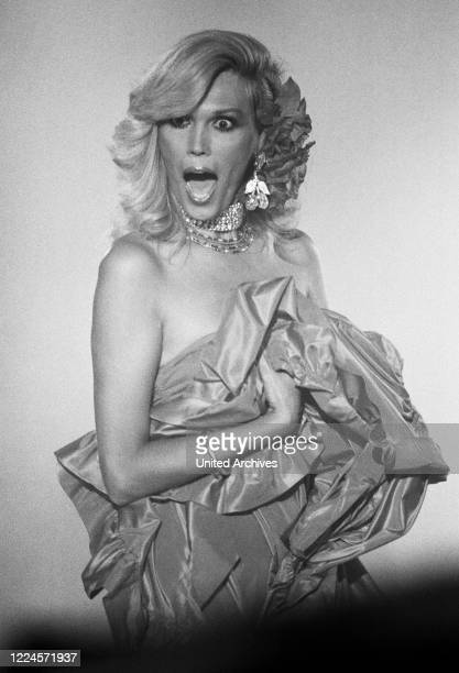 Singer painter and actress Amanda Lear during a performance at Germany early 1980s